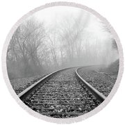 Foggy Tracks Round Beach Towel