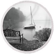 Foggy Tranquility Round Beach Towel by Betsy Zimmerli
