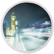 Foggy Westminster Bridge Round Beach Towel