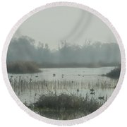 Foggy Wetlands Round Beach Towel