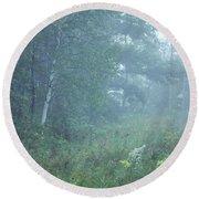 Foggy Wooded Meadow Round Beach Towel