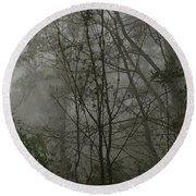 Foggy Woods Photo  Round Beach Towel