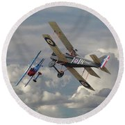 Round Beach Towel featuring the digital art Fokker Dvll And Se5 Head To Head by Pat Speirs