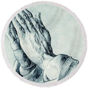 Folded Hands Of An Apostle Round Beach Towel