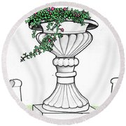 Round Beach Towel featuring the drawing Foliage Fountain by Mary Ellen Frazee