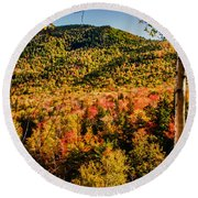 Foliage View From Crawford Notch Road Round Beach Towel