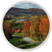 Foliage View Of Connecticut River From Piermont New Hampshire Round Beach Towel