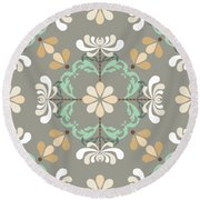 Folk Art Inspired Chrysanthemums In Muted Hues Round Beach Towel
