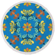 Folk Art Inspired Chrysanthemums Yellow And Orange Round Beach Towel