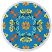 Folk Art Inspired Chrysanthemums Yellow And Orange Round Beach Towel