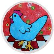 Folk Art Rooster Round Beach Towel