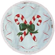 Folk Candy Cane Round Beach Towel