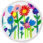 Round Beach Towel featuring the pastel Folk Garden by Bee-Bee Deigner
