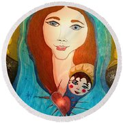 Folk Mother And Child Round Beach Towel
