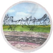 Round Beach Towel featuring the painting Follow Me by Linda Feinberg