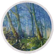 Follow Me Oil Painting Of A Magic Forest Round Beach Towel