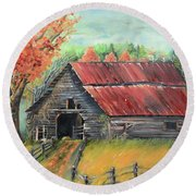 Round Beach Towel featuring the painting Follow The Lantern - Early Morning Barn- Anne's Barn by Jan Dappen