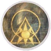 Follow The Light - Illuminati And Binary Round Beach Towel