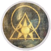 Follow The Light - Illuminati And Binary Round Beach Towel