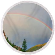 Follow The Rainbow To The Majestic Rockies Of Colorado.  Round Beach Towel