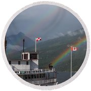 Follow The Rainbows To Kaslo Round Beach Towel