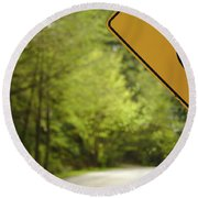 Round Beach Towel featuring the photograph Follow The Sign by Cendrine Marrouat