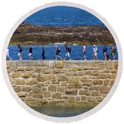 Round Beach Towel featuring the photograph Follow The Yellow Brick Road by Terri Waters