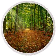 Follow The Yellow Leaf Road Round Beach Towel