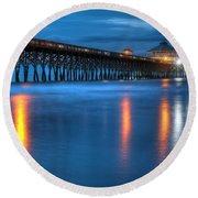 Folly Beach Pier At Blue Hour Charleston South Carolina Round Beach Towel
