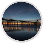 Folly Beach Pier Before Sunrise Round Beach Towel