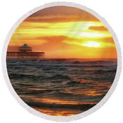 Folly Beach Pier Sunrise Round Beach Towel