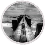 Folly Beach Pilings Charleston South Carolina In Black And White  Round Beach Towel
