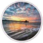 Folly Beach Sc Ocean Seascape Charleston South Carolina Scenic Landscape Round Beach Towel