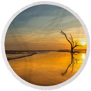 Folly Beach Skeleton Tree At Sunset - Folly Beach Sc Round Beach Towel