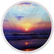 Folly Beach South Carolina Sunrise Round Beach Towel