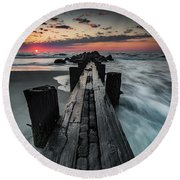 Folly Beach Tale Of Two Sides Round Beach Towel
