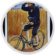Fongers In Gebruik Bil Nederlandsche En Nederlndsch Indische Leger Vintage Cycle Poster Round Beach Towel