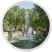 Round Beach Towel featuring the photograph Fontaine De Nimes by Scott Carruthers