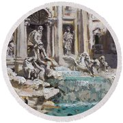 Fontana Di Trevi Rome Round Beach Towel
