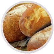 Round Beach Towel featuring the photograph Food - Bread - Just Loafing Around by Mike Savad