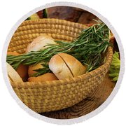 Round Beach Towel featuring the photograph Food - Bread - Rolls And Rosemary by Mike Savad