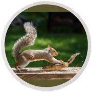 Food Fight Squirrel And Chipmunk Round Beach Towel