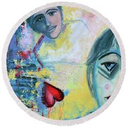 Foolish Love Round Beach Towel by Donna Blackhall