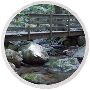 Foot Bridge Over Notch Brook Round Beach Towel by Catherine Gagne
