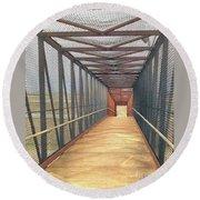 Foot Bridge Over Tracks Round Beach Towel by Janette Boyd