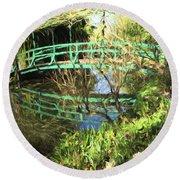 Foot Bridge Reflections In Monet's Garden Round Beach Towel