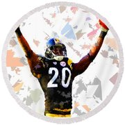 Round Beach Towel featuring the painting Football 113 by Movie Poster Prints
