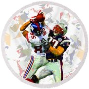 Round Beach Towel featuring the painting Football 116 by Movie Poster Prints