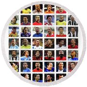 Football Legends Round Beach Towel by Semih Yurdabak