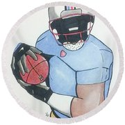 Football Player Round Beach Towel